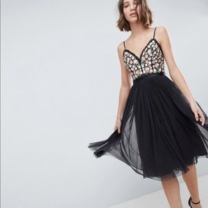 Needle & Thread Cami Midi Dress Embroidered